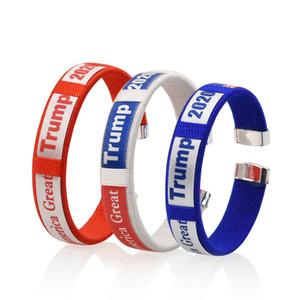 Halten Sie Trump Cuff Bracelets Amerika-Flagge Großen General Election-Verpackungs-Armband Gürtelschlaufe Kunststoff Kreis Armband Rot Weiß 1 2GG C2