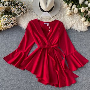 Neploe Slim Waist Lace Up Irregular Temperament Blouse V Neck Flare Long Sleeve Ruffles Blusas Autumn Spring New Shirt 47903 CX200714