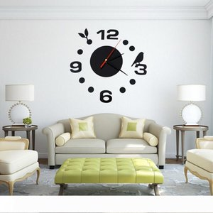 Wholesale- Home Decoration Brief 3D Acrylic Living Room Wall Clock Creative Bird DIY Wall Stickers Black Quartz Clocks VB506 P56