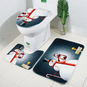 30Lots X-Mas Bath Mats Natal WC Mat 3Pcs / Set Banho Tapete Toilet Tampa Tampa WC Seat Cover Tapetes Non-slipDH0228