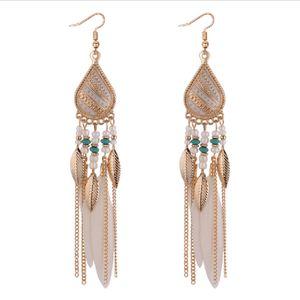 Bohemia Feather Earring for Women Fashion Jewelry Beads Tassel Dangle Long Earrings Dream Catcher Drop Earrings ps0809