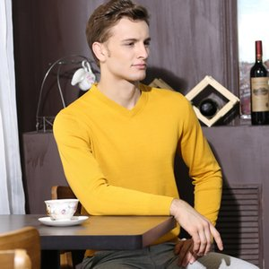 Men's Wool Pullover Autumn Spring Warm V-neck Solid Slim Fit Fashion Perfect Quality Clothes Knitted Cotton Casual Male Sweaters