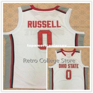 Ohio State Buckeyes # 0 Д'Анжело Рассел ретро Баскетбол Джерси All Размер вышивки прошитой Настроить любое имя и имя XS-6XL жилет трикотажные