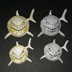 Nouveau Arrivé 6IX9INE même Big Shark animal Collier pendentif pleine Zircon Hip Hop Collier Bling hommes