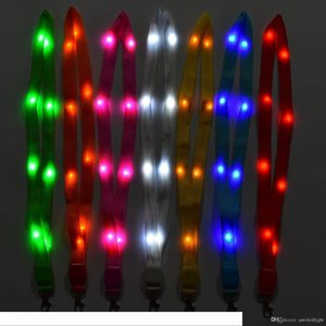 Novelty LED Light Up Neck Strap Band Lanyard Key Chain ID Badge Hanging Lace Rope for Business ID Keys Students Office Worker