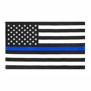 USA Flag diretto all'ingrosso della fabbrica 3x5Fts 90cmx150cm Law Enforcement Officers USA US americano polizia Thin Blue Line Flag EEA1786
