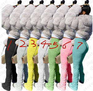 Summer Women Sweatpants Solid Flare Pants Ladies Stacked Joggers Pleated High Waist Trouser Trend Fashion Bottom Skim Leggings Pant LY709