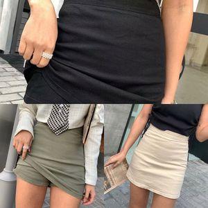 2023 стиль лето нового высокой талии белье фартук фартук молния эластичный пояс бедро юбка один шаг небольшая юбка с нижним бельем