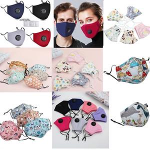 Máscaras de la moda unisex algodón de la cara de la válvula con la respiración boca PM2.5 máscara de la máscara de tela anti-polvo reutilizable para los niños adultos DHL envío rápido