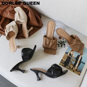 2020 New Design Square Toe Thin High Heel Slippers Women Sandals Fashion Slip On Slides Summer Shoe Mule Pleated Massage Outsole Y200624