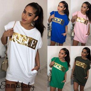 Women's Summer T-shirt Dress Letter Printed Short Sleeve Crew Neck Party Beach Dresses Women Casual