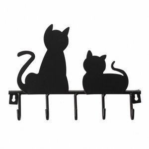 Fashion Black cat design Metal Iron Wall Door Mounted Rustic Clothes Coat hat key hanging Decorative Wall Hooks Robe Hanger pjWg#