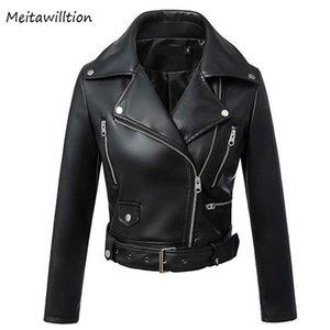 Autumn Winter Black Faux Leather Jacket Women Turn-down Motor Biker Jackets 2020 New Classic Slim Zipper Basic Coat