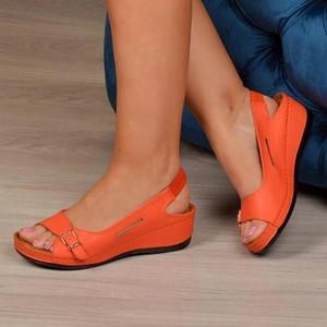 Gladiator Sandalias mujer 2020 Female Wedge Heels Shoes Women Summer Comfortable Sandals Slip-on Flat Sandals Platform Sandalias