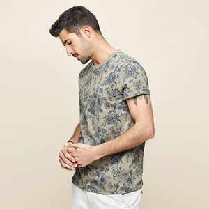 Mens короткий рукав рубашки хлопка круглый воротник завод печать моды тенниска лето мужчины футболка цвета хаки Top