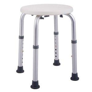 Novas ajustáveis liga de alumínio idosos cadeira de banho redonda Stool Início Bathroom Supplies Branco Bath auxiliar Stool