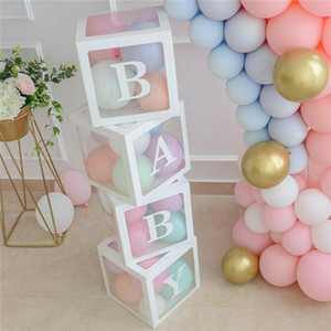 4pcs set DIY Transparent Box Latex Balloon BABY LOVE Blocks for Boy Girl Baby Shower Wedding Birthday Party Decoration Backdrop