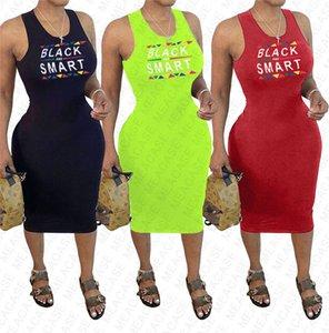 Brand BLACK SMART Letter Print Women's Summer Vest Dress Sexy Bodycon Sleeveless suspender Beach Casual Pleated Dresses Clothes S-XXL D7608