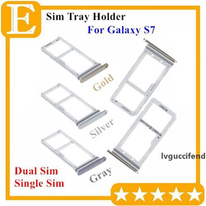 100% New Double Sim Micro SD Memory Card Tray Holder Slot For Samsung Galaxy S7 G930 Dual Single Sim Tray 50PCS