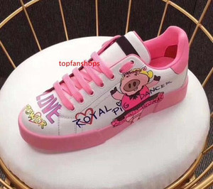 Fashion Woman Designer Shoe DANCING LOVE PIG PEWER Leather Sneakers Casual Italian Shoes Womens Luxury Shoes jn21
