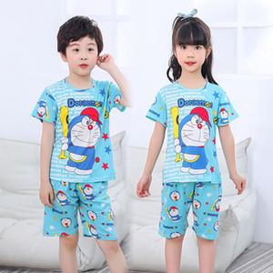 Kids Summer pijamas Establece pijama traje Niños dormir pijamas del bebé de los niños ropa de la muchacha de Little Adolescentes de manga corta de las muchachas de Pijama