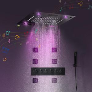 멀티 기능 블랙 LED 천장 샤워 온도 조절 밸브 샤워 욕실 천장 조명 스마트 블루투스 음악 재생 샤워 헤드 수도꼭지