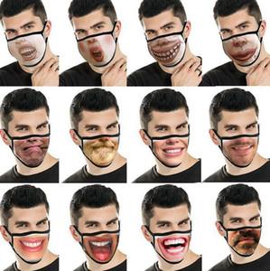 Maske Funny Face Unisex Gesicht Mund-Maske wiederverwendbare Mode Mundmaske Lustige 3D Lustigen Ausdruck Gesichts-Abdeckungs-Masken LJJK2430 Drucken