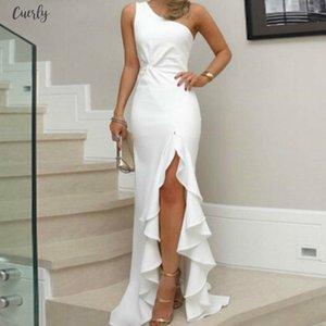 Women One Shoulder Evening Puff Sleeve Party Ruffles Club Strap Dresses Summer Elegant Sleeveless High Split Long Maxi Dress