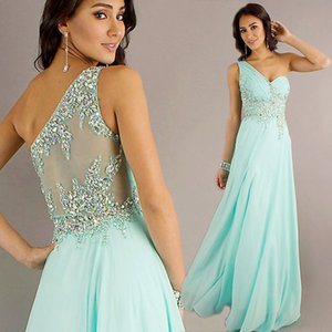 Stunning One-Shoulder Chiffon Evening Dresses Crystal Decoration A Line Evening Gowns Floor Length Cheap Prom Dresses with Sheer Back