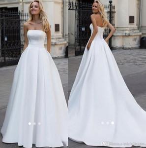 2020 Semplice lungo elegante raso bianco abiti da sposa una linea senza spalline in rilievo Perle Plus Size Abiti da sposa