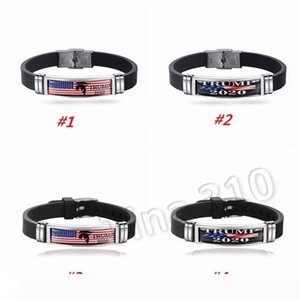 New Trump 2020 Bracelet Donald Keep America Great Again Wristband Stainless Steel Silicone Bracelets Trump Wristbands Party Favor 5049