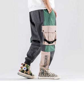Mens Hip Hip штаны Streetwear Цвет Блок Лоскутной Harajuku Pant Jogger боковой карман лента Sweatpant брюки