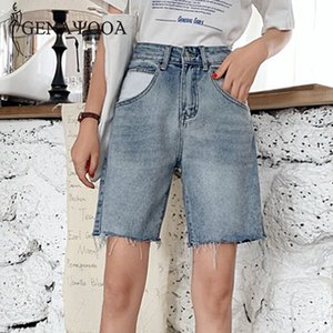 Genayooa New Arrival Jeans Shorts Women High Waist Demin Shorts Casual Streetwear Ripped Biker Jeans Feminino Blue 2020