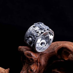 LouLeur 100% 999 sterling silver flower rings silver vintage exquisite flower open rings for women 2020 festival jewelry gift