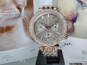 전체 기능 숙녀 분홍색 시계 다이아몬드 여성 남성 디자이너 크리스탈 로즈 골드 팔찌 시계 스테인레스 스틸 시계 다이얼 시계