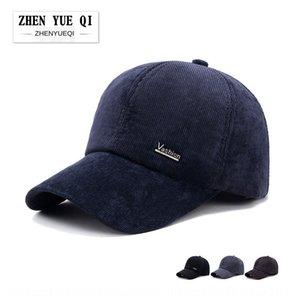 6pwl7 Winter Warm baseball cap warm corduroy thickened cotton hat cold-proof ear protection middle-aged and elderly baseball cap striped men