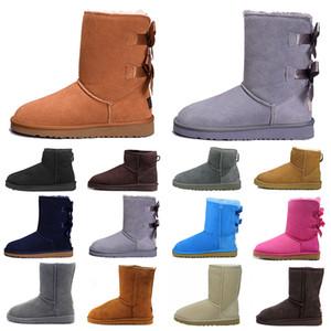 boot 2020 heißen Modeschöpferin Frauen Knöchel Winter Australien Stiefel braun hoch Bailey Bowknot Frauen Arbeit über das Knie Oberschenkel hohe Pelzstiefel