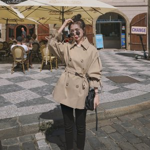 Short trench coat female 2020 spring and autumn new waist slimming jacket casual long-sleeved loose large size wild shirt