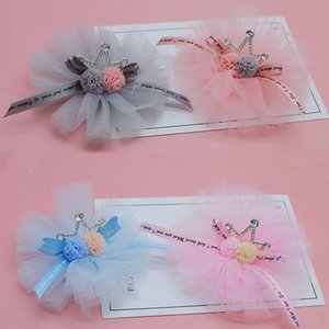 4pcs lot 9cm DIY Handmade Mesh Flower with crown Padded Applique for Childrens hair Clip Accessories