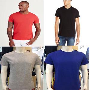 HOT 100% algodón para hombre verdadera impresión de la letra T verano básico sólido T-shirt ropa casual de color blanco negro azul RELIGIONING Punk Tees M-3XL
