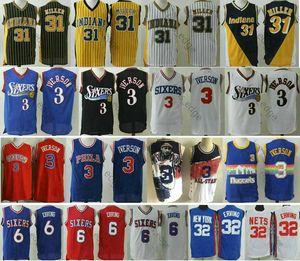 Philadelphia76res Allen Iverson # 3 T-shirt 6 Julius Erving 32 Wilt Chamberlain 13 Drazen Petrovic 3 Reggie Basketball Maillots Pacers de l'Indiana