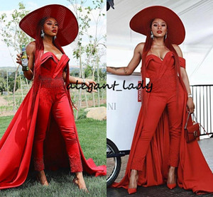 Red Off Shoulder Jumpsuits Evening Dresses Overskirt Pearls Ruched Ankle Length Satin Celebrity Dress Outfit Formal prom gowns