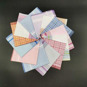 28cm Men Plaid Handkerchiefs 100% Cotton Stripe Hankies Gift Women Classical Handkerchief Pocket Hanky Lattice Square Handkerchief BC BH3464