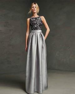 A-Line Elegant Beautiful Back Formal Evening Dress Jewel Neck Sleeveless Floor Length Lace Jersey with Sash   Ribbon Pleats