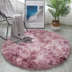 Round Shaggy Carpet Livingroom Plush Fluffy Rug Home Decor Bedroom Carpet Sofa Coffee Table Floor Mat Soft Motley Kids Room Rugs 7LQ6#