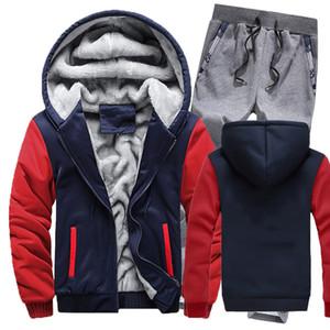 2020 Erkekler Yeni Hip Hop Spor Kapüşonlular Moda Sonbahar Kış Harajuku Stil Marka Erkek Seti Spor İki Adet Solid Renk Erkek Takım Elbise