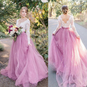 2020 New Country Style Vintage Wedding Dresses V Neck Lace Dress Pink Skirt Long Sleeves Bridal Gowns Vestido de Noiva Robe de Mariee