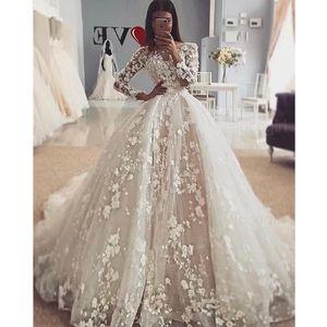Princess 3D Floral Long Sleeves Wedding Dresses 2021 Illusion Neck Appliques Bridal Wedding Gowns Court Train Bride Dress