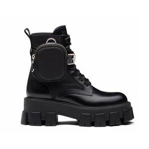 جديد ريال الجلود والنايلون الأحذية مارتن أحذية الكاحل القتالية أحذية للنساء القابلة للإزالة الحقيبة سوداء سيدة في الهواء الطلق الأحذية