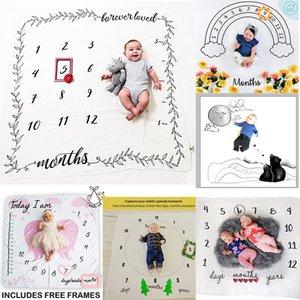 40 Styles Lettre Bébé Fleur Imprimer Couvertures créative douce du nouveau-né Wrap emmailloter bébé Mode Milestone Couvertures Photographie Backdrops M2430